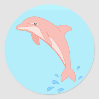 Peaches the Pink Dolphin Classic Round Sticker