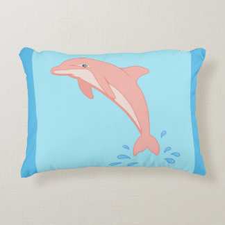 Peaches the Pink Dolphin Decorative Pillow