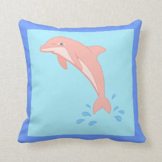 Peaches the Pink Dolphin Throw Pillow