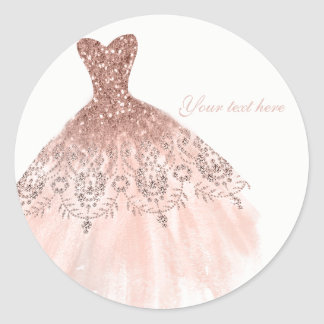 Peachy Blush Pink Glitter Glam Dress Bridal Shower Classic Round Sticker