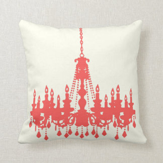 Peachy Coral Chandelier  Designer Pillow