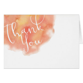 Peachy Coral Watercolor Wash Wedding Thank You Card