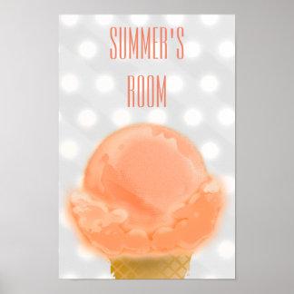 Peachy Ice Cream Sherbet Kid's Room - Poster