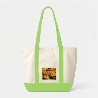 Peachy Petals Floral Design Tote Bags