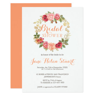 Peachy pink gold roses wreath chic bridal shower card