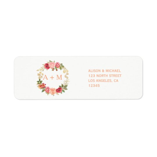 Peachy pink gold roses wreath chic rsvp wedding return address label