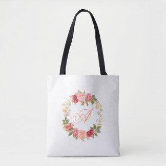 Peachy pink gold roses wreath wedding favor tote bag