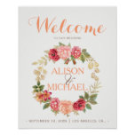 Peachy pink gold roses wreath wedding welcome sign