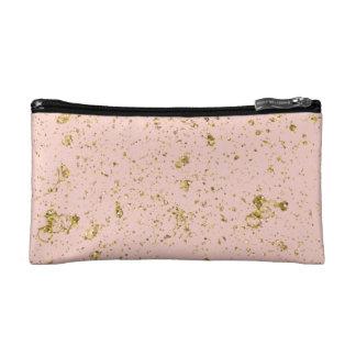 Peachy Pink Rose Gold Makeup Bag
