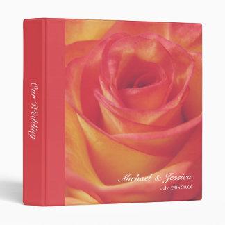 Peachy Pink Rose Wedding Binders