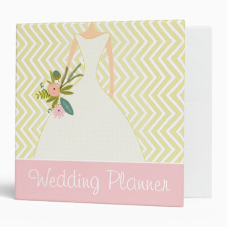 Peachy Pink Rose Zig Zag Wedding Planner 3 Ring Binders