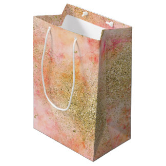 Peachy Pink Watercolor Gold Faux Glitter Medium Gift Bag