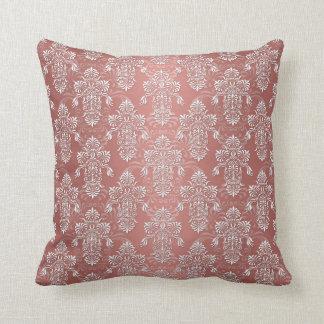 Peachy Salmon Pink Girly Damask Throw Pillow
