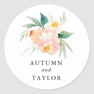 Peachy Watercolor Floral Wedding Round Sticker