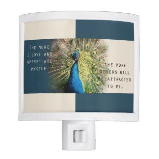 Peacock Affirmation Night Light
