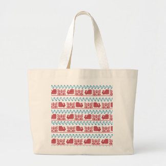 Peacock and flowers large tote bag