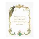 Peacock and French Baroque Golden Frame Stationery