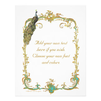 Peacock and French Baroque Golden Frame Stationery Full Color Flyer