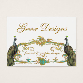 Peacock and Gold Business/Profile/Save the Date Business Card