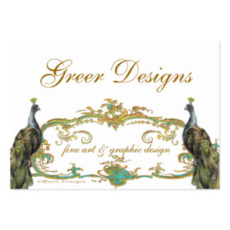Peacock and Gold Business Profile Save the Date Business Card Template