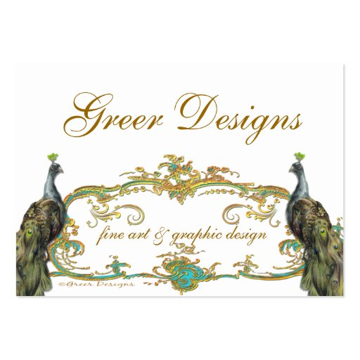 Peacock and Gold Business/Profile/Save the Date Business Card Template