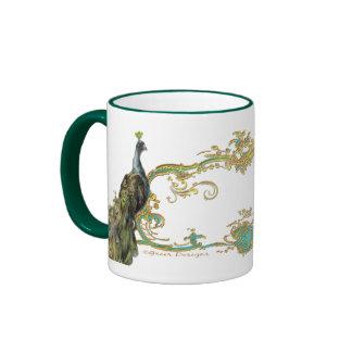 Peacock and gold filigree mug