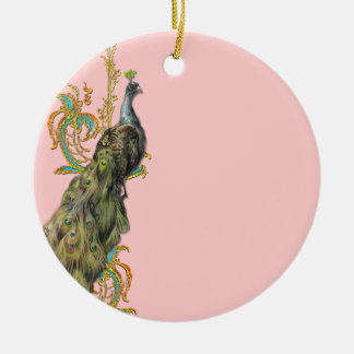 Peacock and Golden Scrolls Double-Sided Ceramic Round Christmas Ornament