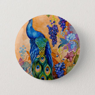 Peacock and Grapes 2 Inch Round Button