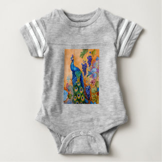 Peacock and Grapes Baby Bodysuit