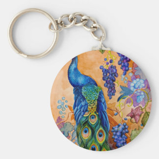 Peacock and Grapes Keychain