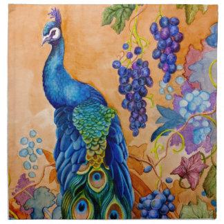 Peacock and Grapes Napkin