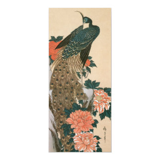 """Peacock and Peonies by Hiroshige, Save the Date 4"""" X 9.25"""" Invitation Card"""