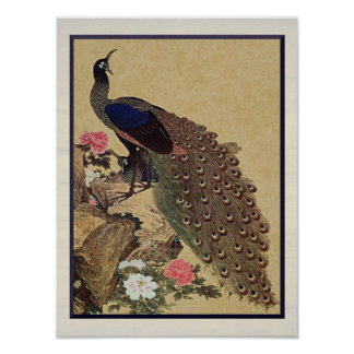 Peacock and Peonies Vintage Japanese Fine Art Poster