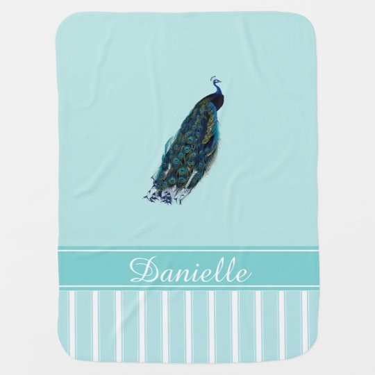 Peacock Aqua Personalized Baby Blanket
