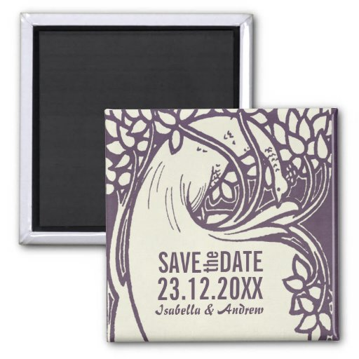 Peacock art deco violet and ivory save the date magnets