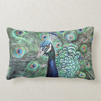 Peacock Art Lumbar Cushion