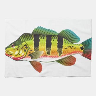 Peacock Bass bright Ocean Gamefish illustration Kitchen Towel