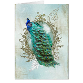peacock beautiful turquoise vintage shabby bird card