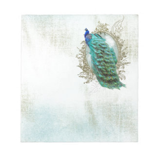 peacock beautiful turquoise vintage shabby bird notepad
