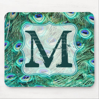 Peacock Bird Feather Monogram Initial Mouse Pad