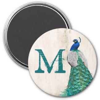 Peacock Bird Feather Teal Monogram Initial Magnet