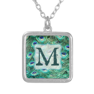 Peacock Bird Feather Teal Turquo Monogram Necklace