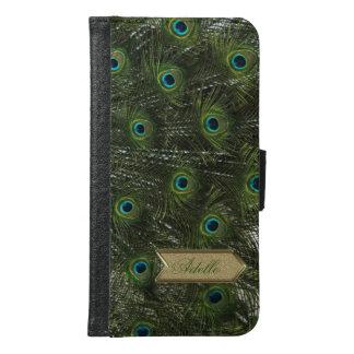 Peacock bird tail Gold Arrow Custom Monogram Samsung Galaxy S6 Wallet Case