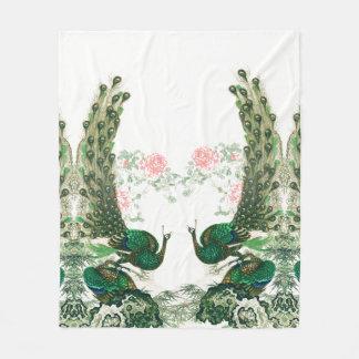 Peacock Birds Peony Flowers Fleece Blanket