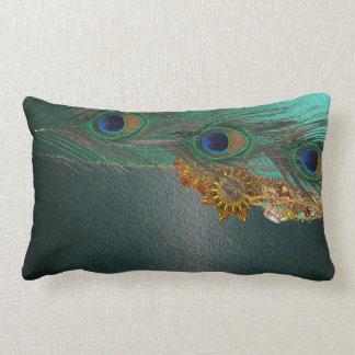 Peacock Bling Lumbar Pillow