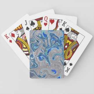 Peacock Blue and Silver Marbled Abstract Playing Cards