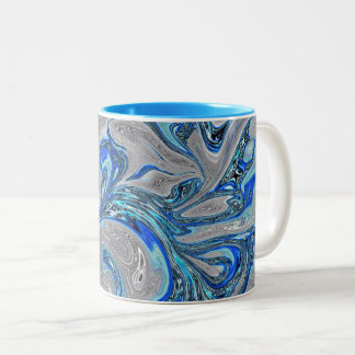 Peacock Blue and Silver Marbled Abstract Two-Tone Coffee Mug
