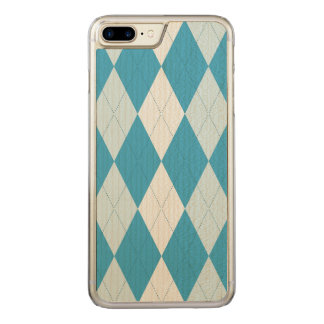 Peacock Blue Argyle Small Diamond Shape Carved iPhone 7 Plus Case