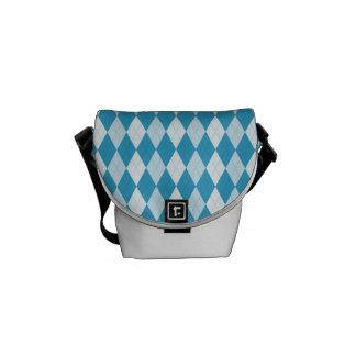 Peacock Blue Argyle Small Diamond Shape Courier Bags