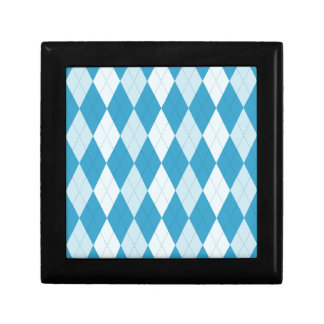 Peacock Blue Argyle Small Diamond Shape Keepsake Box
